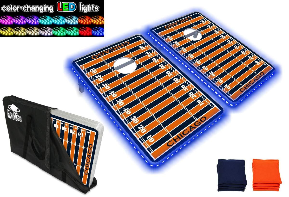 PartyPongTables.com シカゴフットボール3 x 2フィート アルミニウムコーンホールゲームセット – LEDライト – 頑丈なアルミフレーム – 厚いボード面 B07HD1G9CW  LEDライト付き