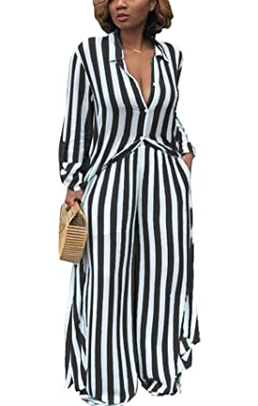 3271b6fe57fa Amazon.com  cnFaClu Women s Sexy Two Pieces Outfits Loose Oversized Striped  Tunic Top T-Shirts + Wide Leg Pant Romper Jumpsuit Long Party Club Maxi  Dress ...