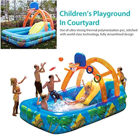 Amazon Com Bswl Summer Inflatable Outdoor Games Water Park Basketball Play Swimming Pool With Water Slide Basketball Hoop Toys For Kids Home Kitchen