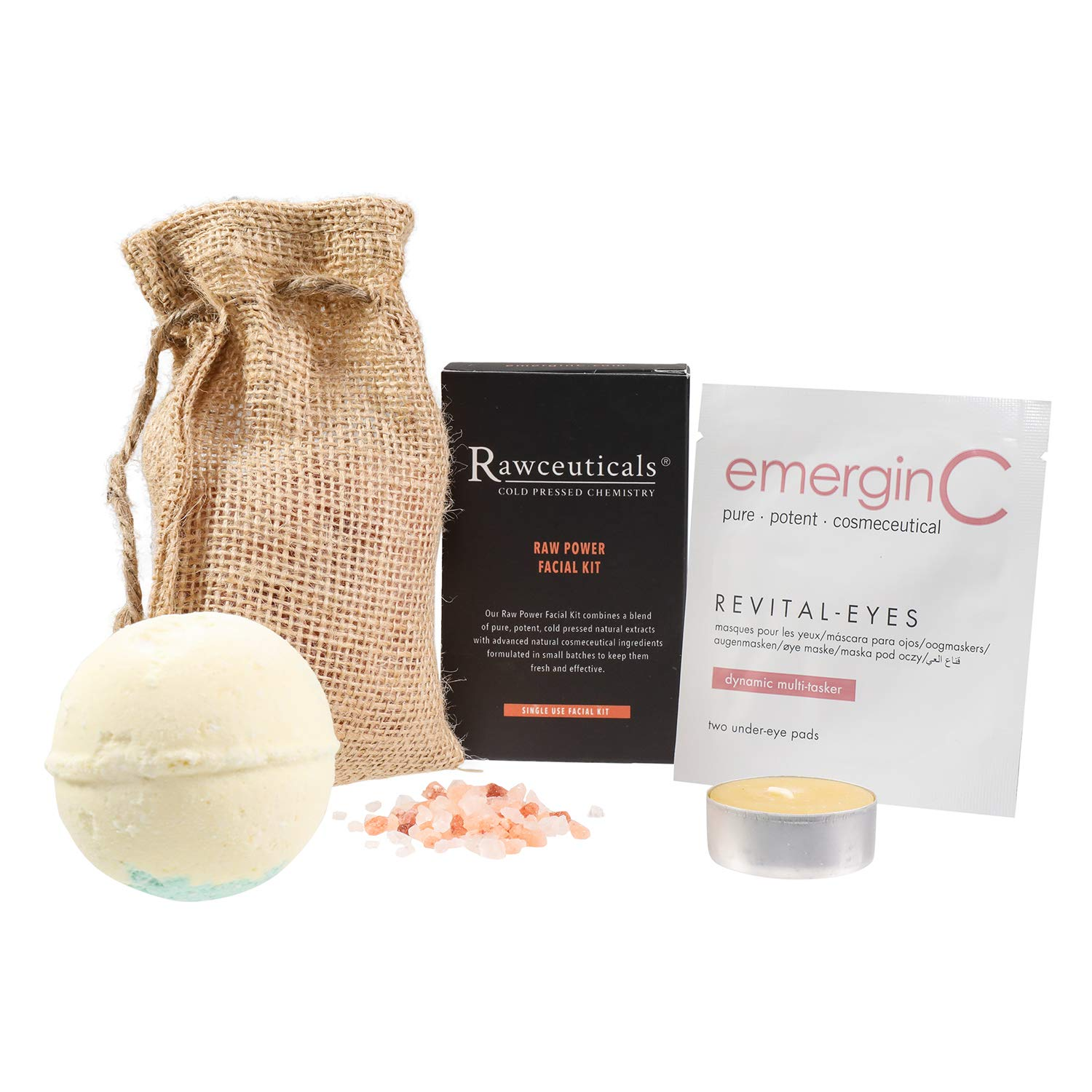 emerginC Scientific At-Home Luxury Spa Kit - Rawceuticals - 5-Piece Set - Raw Power Facial Kit, Revital-Eyes Mask Sample, Essential Oil Bath Bomb, Himalayan Bath Salt Pack, Beeswax Purifying Candle