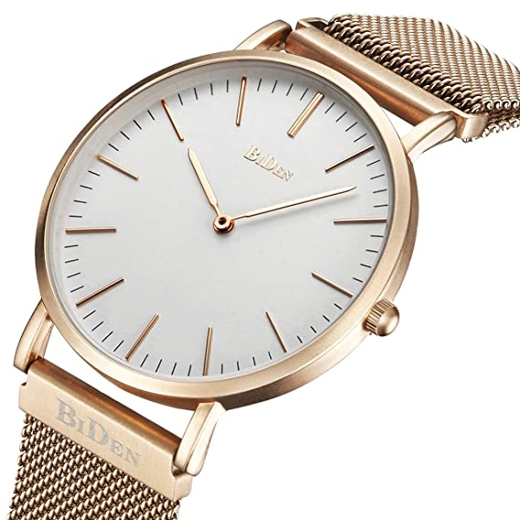 Reloj, reloj para mujer para hombre de moda de lujo súper delgado caso analógico de