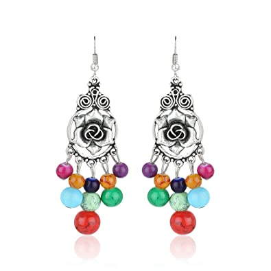 buy fasherati afghani silver vintage retro colorful bead drop