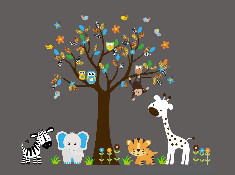 86 x 127 Safari Animal Decals Tree Wall Decal Jungle Animal Decals Wall Decals Animals Nursery Wall Decals Wall Decals Nursery