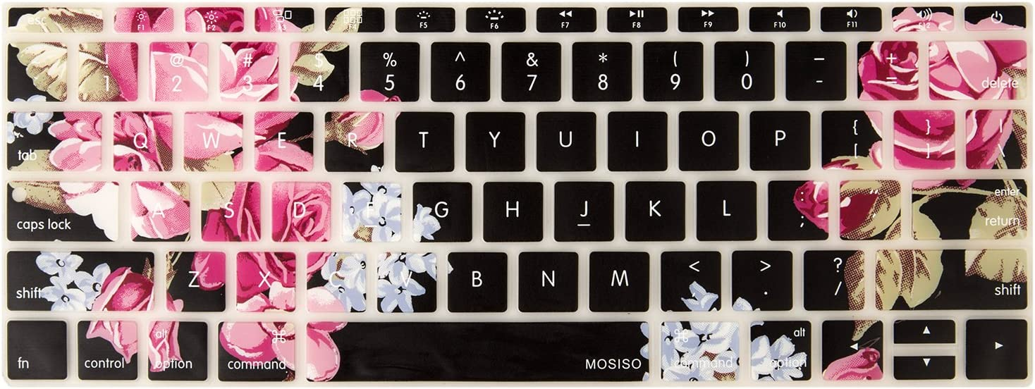 MOSISO Silicone Pattern Keyboard Cover Protective Skin Compatible with MacBook Pro 13 inch 2017 & 2016 Release A1708 Without Touch Bar, MacBook 12 inch A1534, Purple Peony