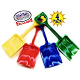 "Matty's Toy Stop 10"" Plastic Sand Shovels for Kids (Red, Blue, Green & Yellow Swirl) Complete Gift Set Party Bundle - 4 Pack"