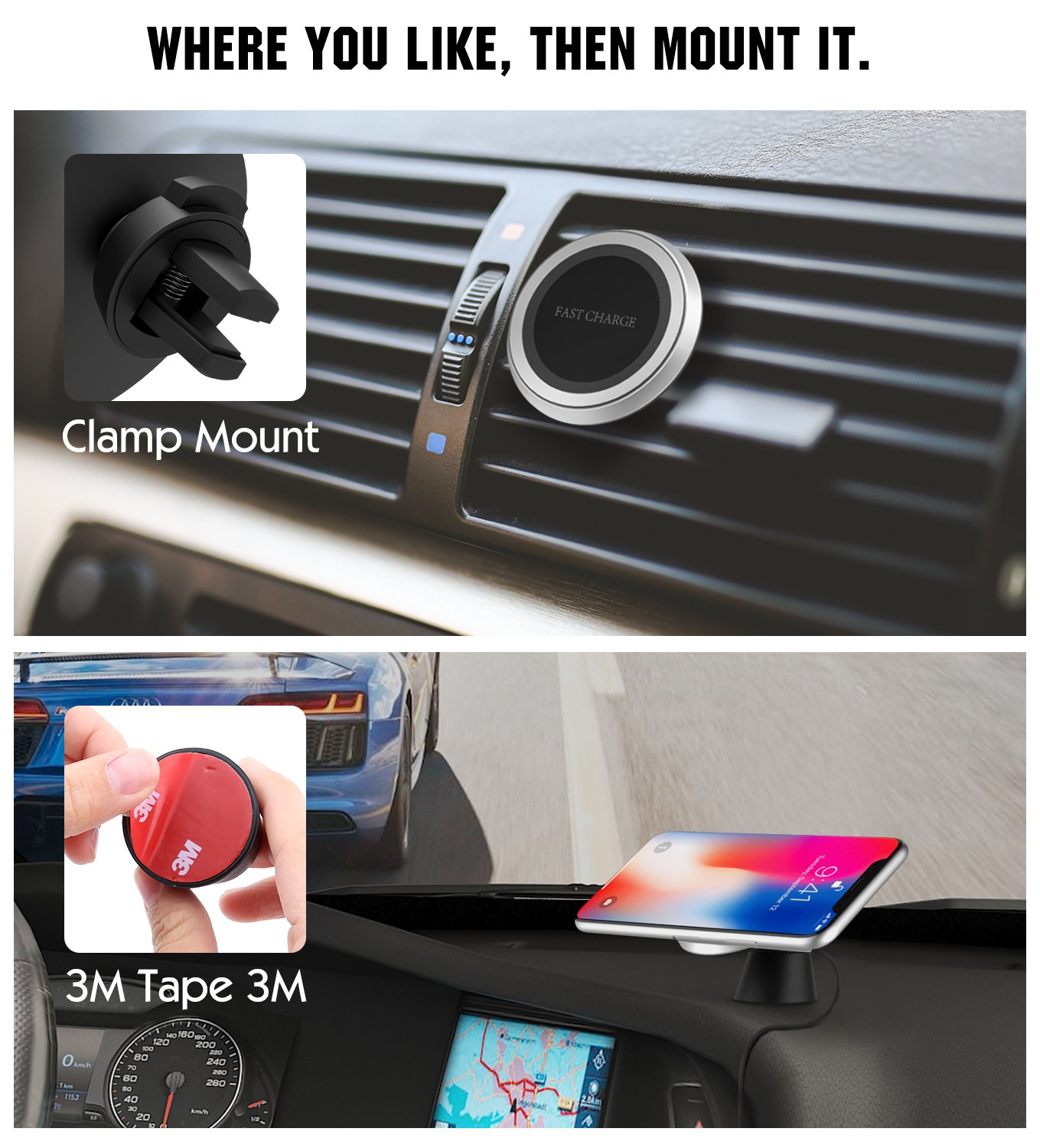 360 Degree Rotation Air Vent Holder and Dash Board Charging Mount Fit iPhone X// 8//8 Plus Samsung Note 8// S8// S8 Plus and Qi-Enabled Devices MoKo Magnetic Fast Qi Wireless Car Charger Stand Black 4351674083