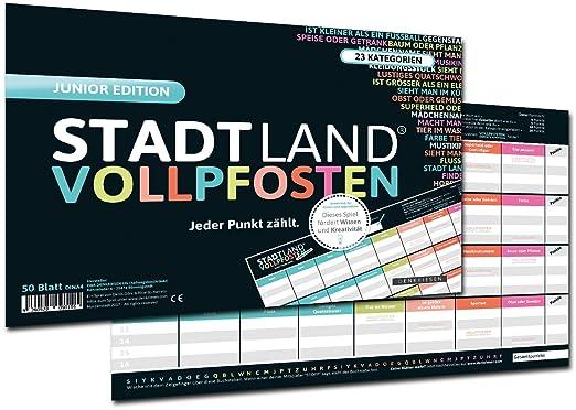 DENKRIESEN Stadt Land Vollpfosten - Junior Edition, Stadt-Land-Fluss neu aufgelegt für Kinder und Jugendliche (Spielblock im