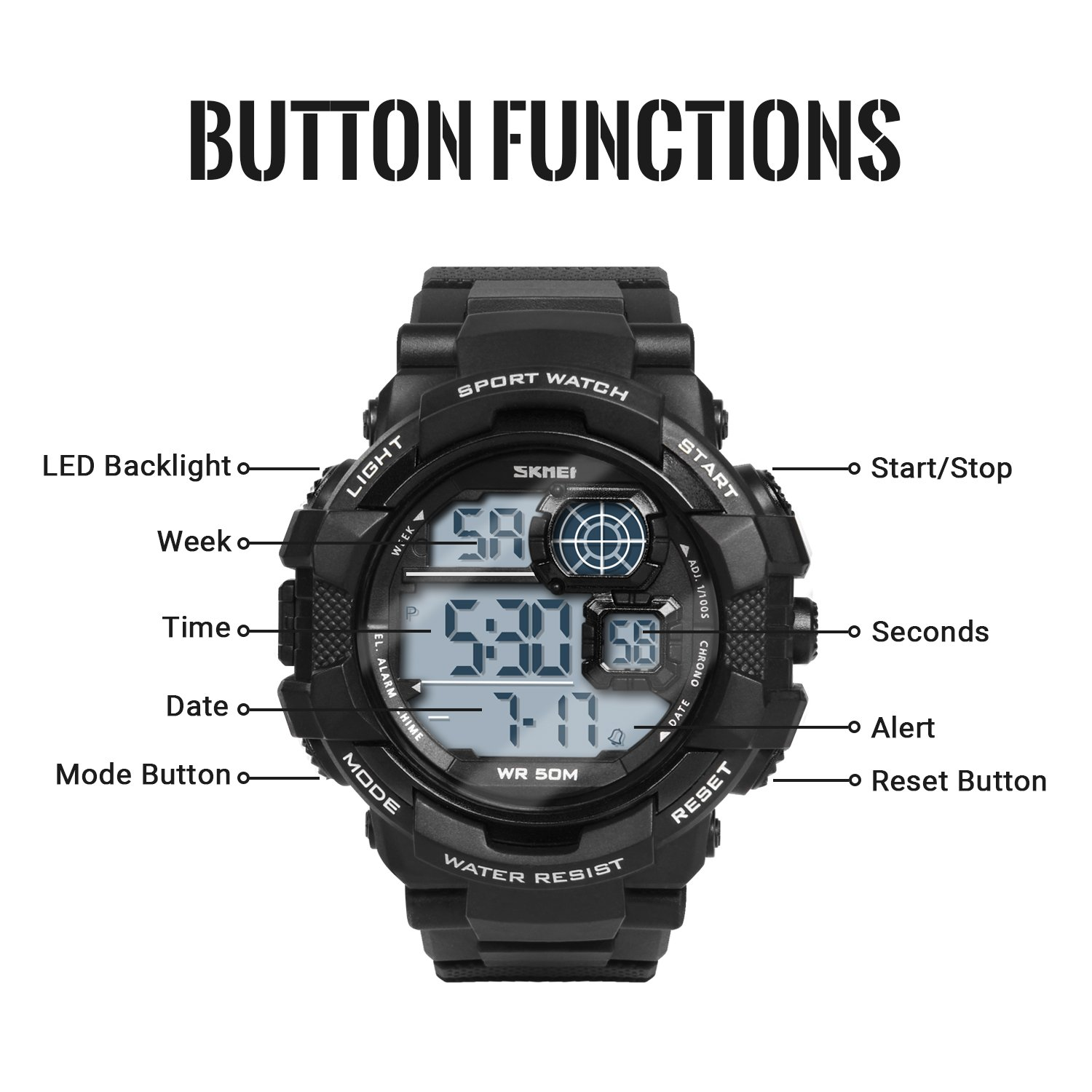 HIwatch Men's Sport Watches LED Military Watches and 50M Waterproof Casual Luminous Stopwatch Alarm Simple Army Watch, Electronic Analog Quartz Watches for Youth Students Gift, Black by Hi Watch (Image #2)