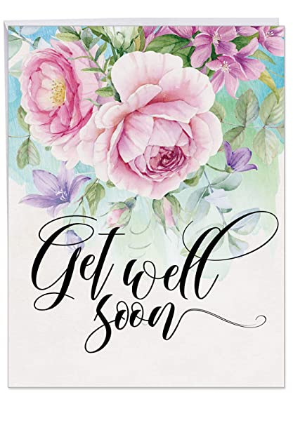 5c3a2e54cbba Floral Feel Better Card With Envelope - Loving Flower Get Well Soon  Greeting 8.5 x 11 Inch J4214HGWG
