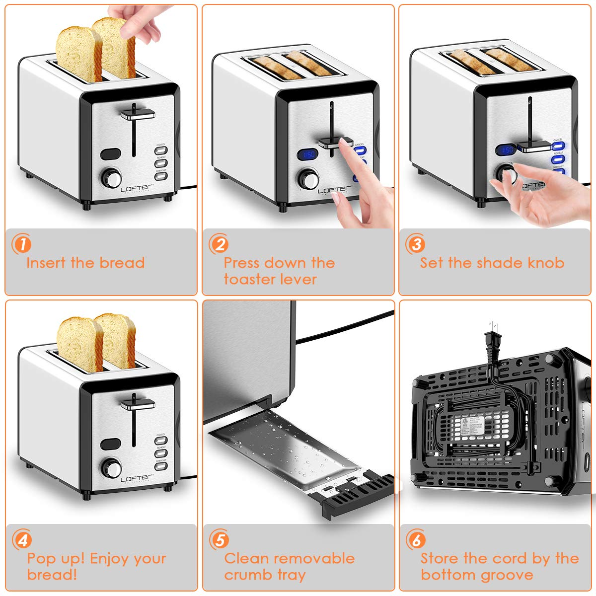 2 Slice Toaster, LOFTER Mirror Stainless Steel Toaster Extra Wide Slots Toasters with 6 Shade Settings, Compact LED Display with Removable Crumb Tray, Defrost/Reheat/Cancel, High Lift Lever, 800W by LOFTER (Image #4)