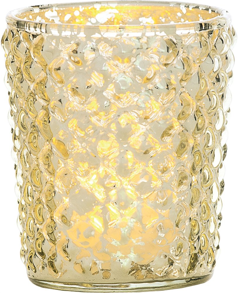 Luna Bazaar Best of Show Vintage Mercury Glass Candle Holders (Gold, Set of 6) - For Use with Tea Lights - For Home Decor, Parties, and Wedding Decorations - Mercury Glass Votive Holders