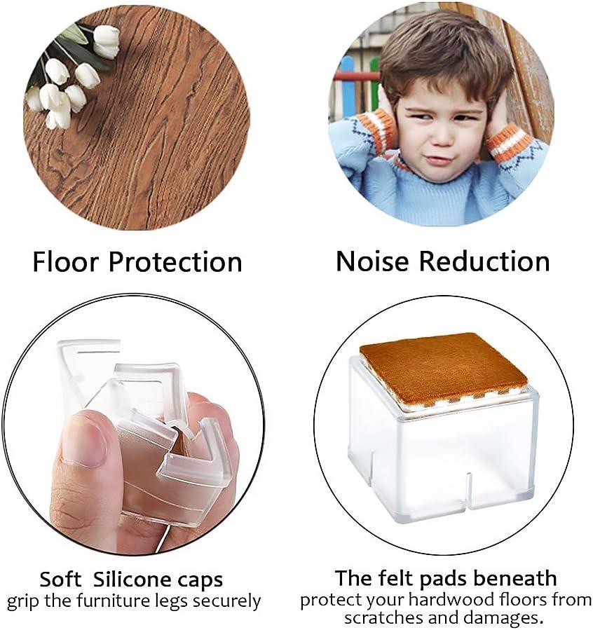 tapas de silicona para patas de mesa silicona Transparent Color VEVICE almohadillas transparentes de 0,7-1,38 pulgadas 3cmx3.5cm Juego de 8 protectores para patas de silla con almohadillas de fieltro redondas para muebles