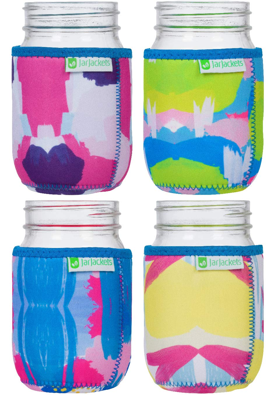 JarJackets Neoprene Mason Jar Protector Sleeve/Koozie - Fits 16oz (1 pint) Jars (4, Multicolor)