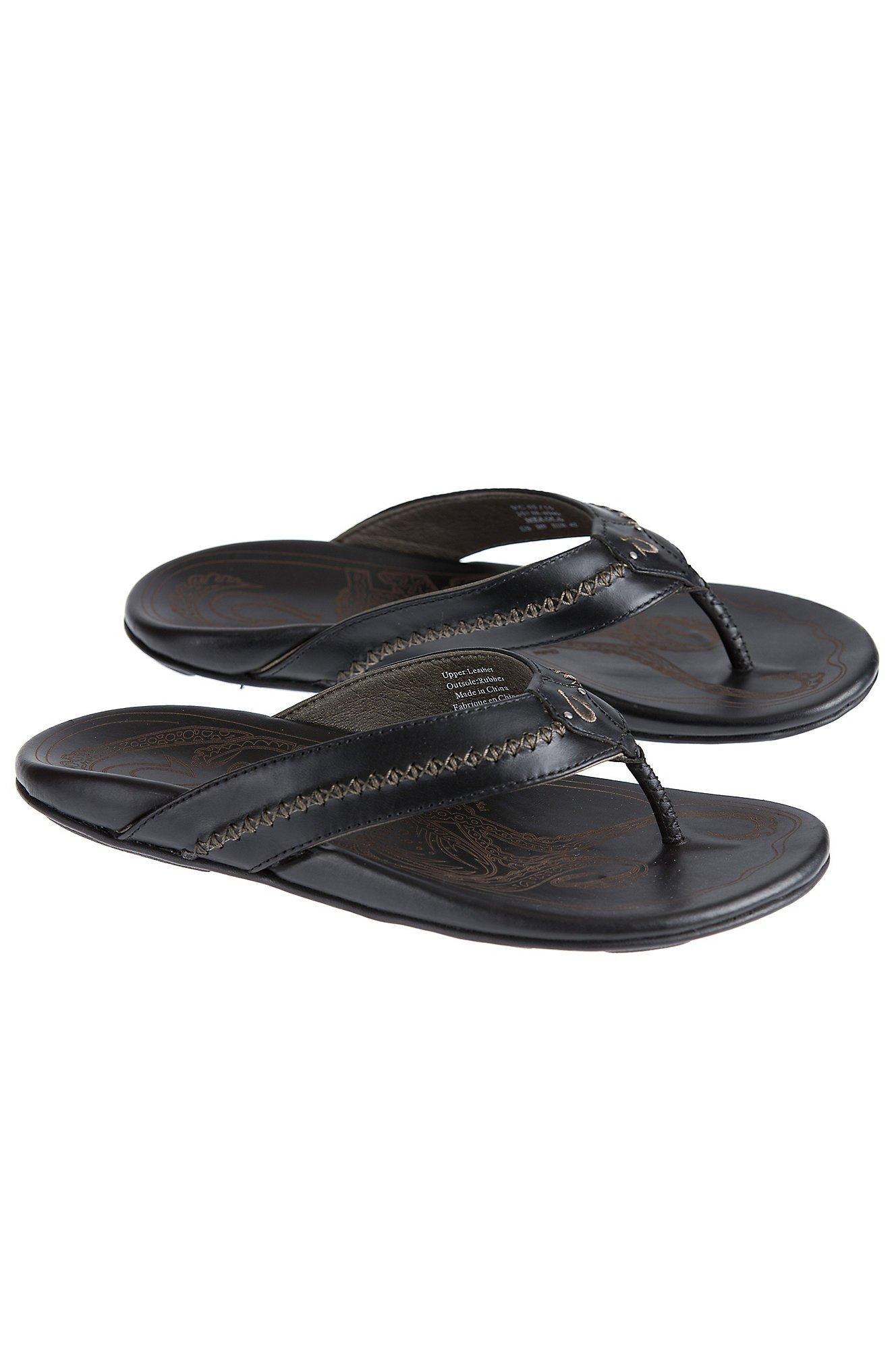 Men's OluKai Mea Ola Leather Sandals, BLACK/BLACK, Size 14