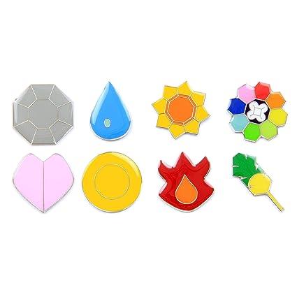 amazon com pokemon gym badges gen 1 kanto clear coating iron