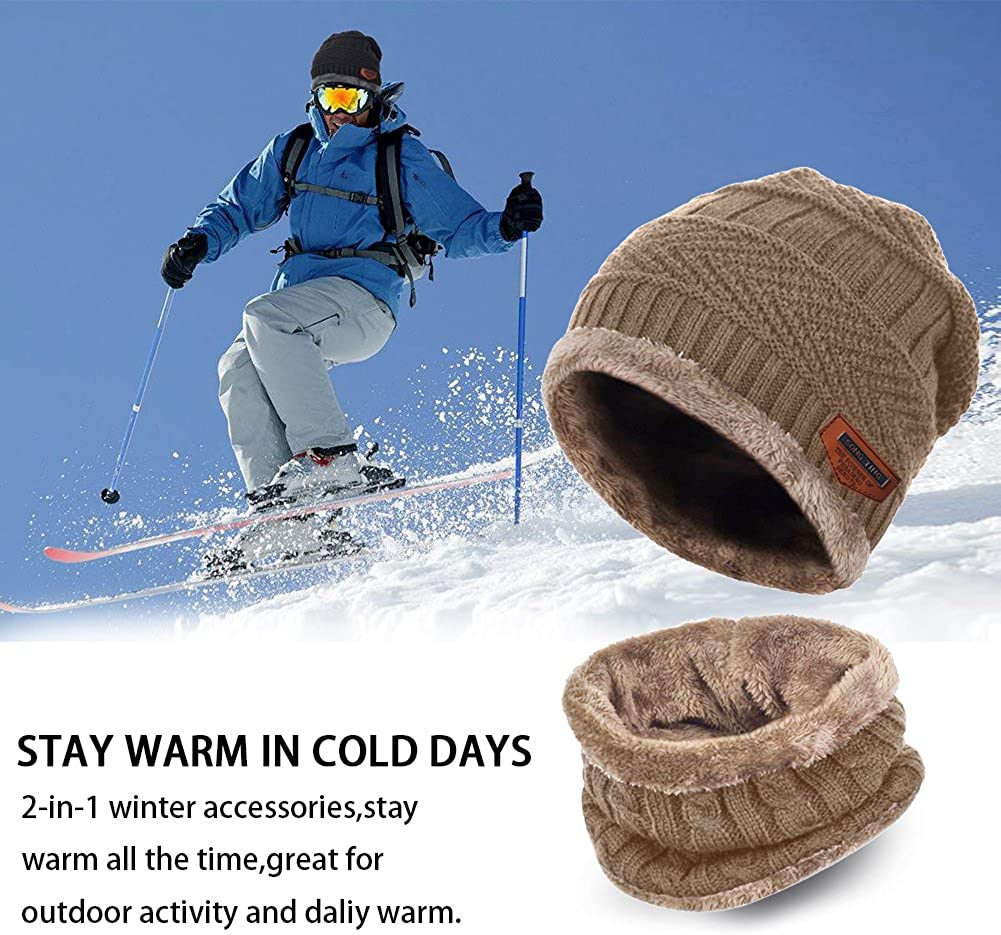 Aibrou Winter Beanie Scarves Warm Knitted 2 Pieces Outdoor Sports Skiing Hat Scarf Gloves Set for Men /& Women