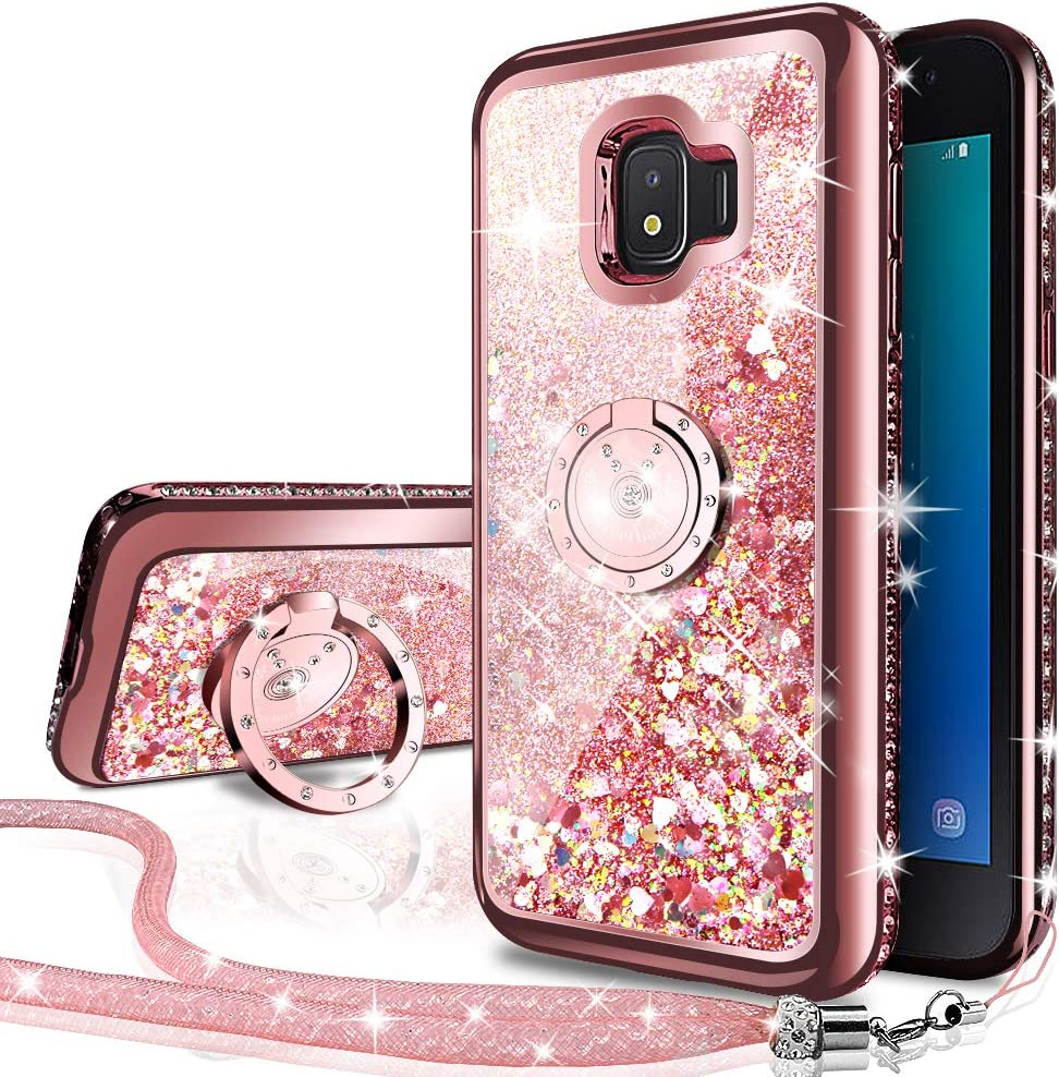 Silverback Samsung Galaxy J2 Core Case, Galaxy J2 / Galaxy J2 Dash/Galaxy J2 Pure Case, Girls Women Moving Liquid Holographic Glitter Case with Ring Stand Bling Case for Samsung J2 Core -RD