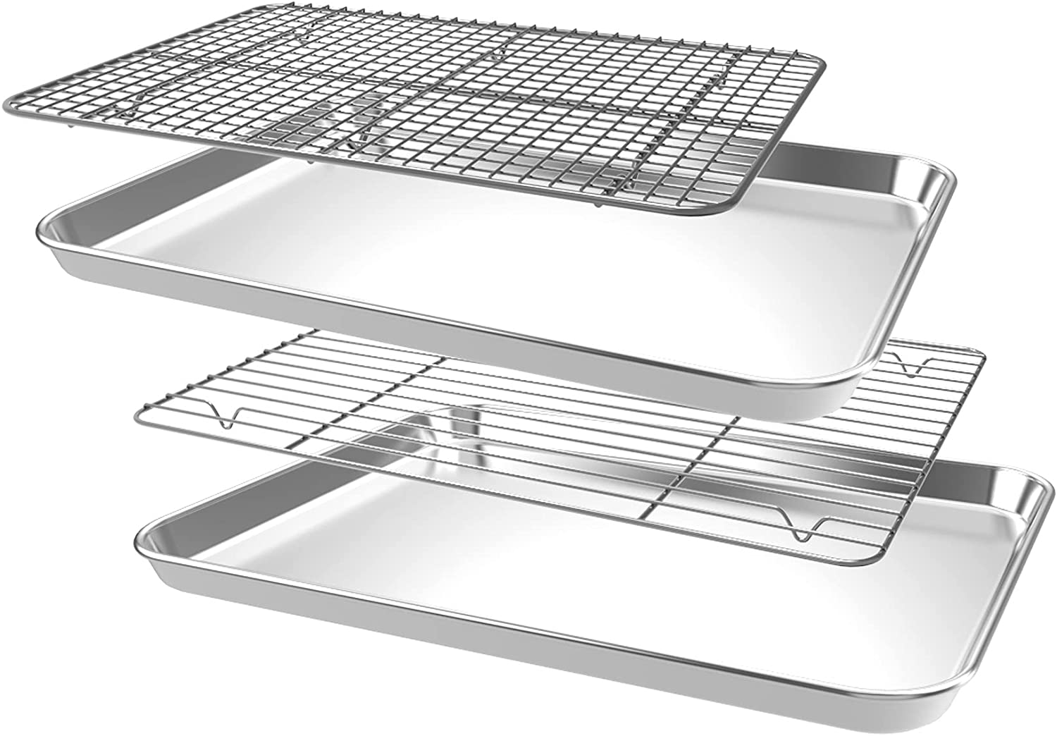 CEKEE Non-stick Baking Tray with Cooling Rack,4 PCS (2 Pans+2 Racks) Baking Sheet, Toaster Oven Baking Pans and Stainless Steel Pan for Kitchen Baking, Non Toxic & Heavy Duty & Easy Clean (10 inch)