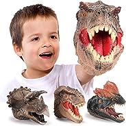 GEYIIE Dinosaur Hand Puppets, Soft Rubber Dinosaur Head Toys Set Animal puppets , Realistic Tyrannosaurus Rex, Dilophosaurus