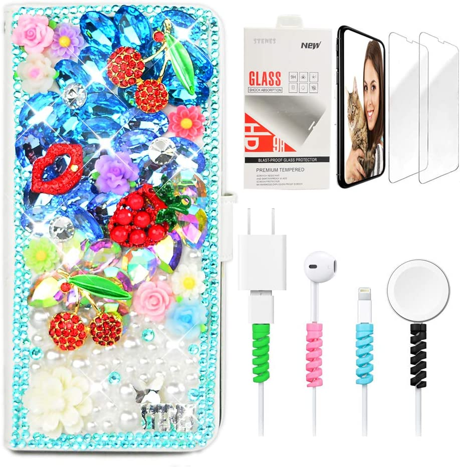 STENES Bling Wallet Phone Case Compatible with Google Pixel 2 XL - Stylish - 3D Handmade Cherry Pineapple Floral Lips Design Leather Cover Case with Screen Protector & Cable Protector - Blue