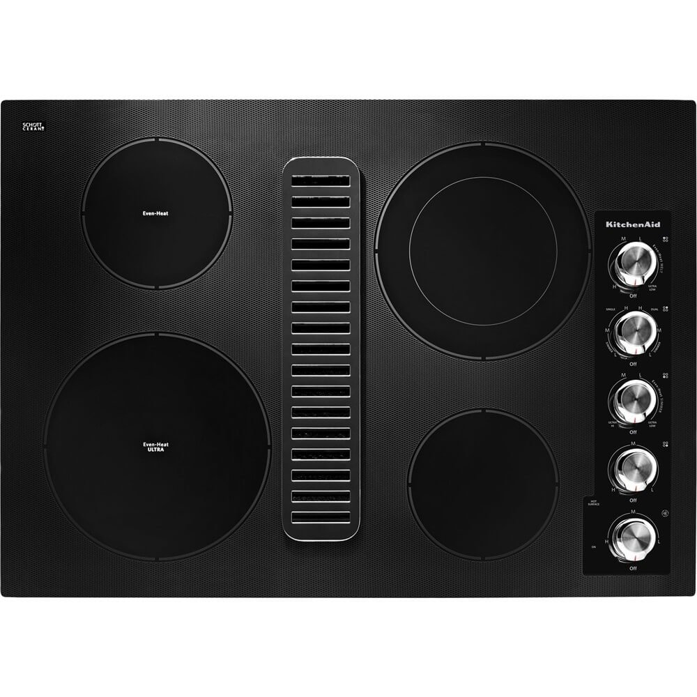 Kitchen Aid KCED600GBL 30 Electric Downdraft Cooktop with 4 Elements KitchenAid