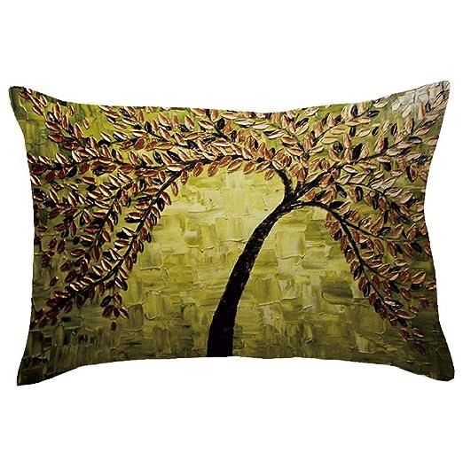 lonupazz algodón Funda de cojín Otoño árboles de Flores 3D ...