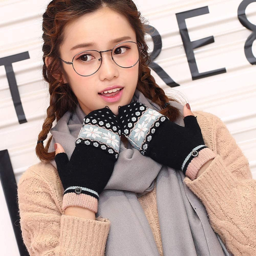 LIAODS Fashion Winter Women Clamshell Acrylic Fingerless Gloves Multifunctional Cute Warm Patchwork Mittens for Students