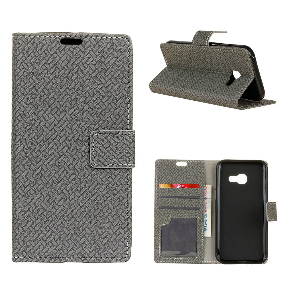 Galaxy A5 2017 Case, CHIHENG Weave Pattern PU Leather TPU Inner Bumper with Cards Slot Wallet Magnetic Flip Stand Cover Case for Samsung Galaxy A5 2017 Grey CA-176793