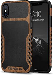 TENDLIN Compatible with iPhone X Case/iPhone Xs Case Wood Grain with Leather Outside Design TPU Hybrid Case