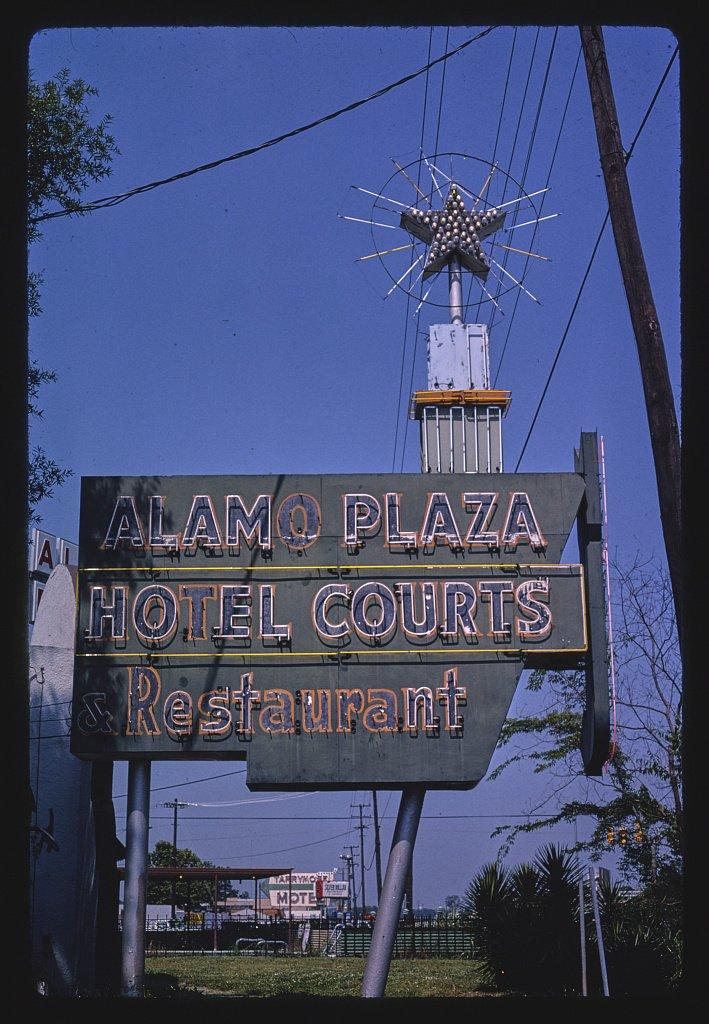 24 x 16 Ready to Hang Gallery Wrapped Fine Art Canvas Print of: Alamo Plaza Hotel Courts Sign, Jackson, Mississippi 1982 Roadside Americana, J Margolies 30a
