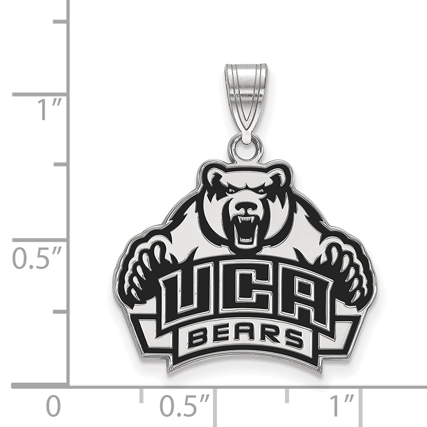 925 Sterling Silver Rhodium-plated Laser-cut University of Central Arkansas Large Enameled Pendant