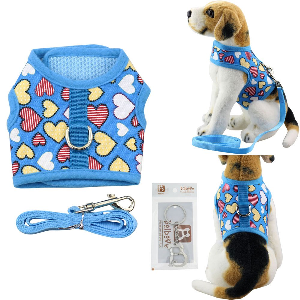 Bolbove Pet Cute Hearts Adjustable Vest Mesh Harness and Leash Set for Small Cats & Tiny Dogs Pink)
