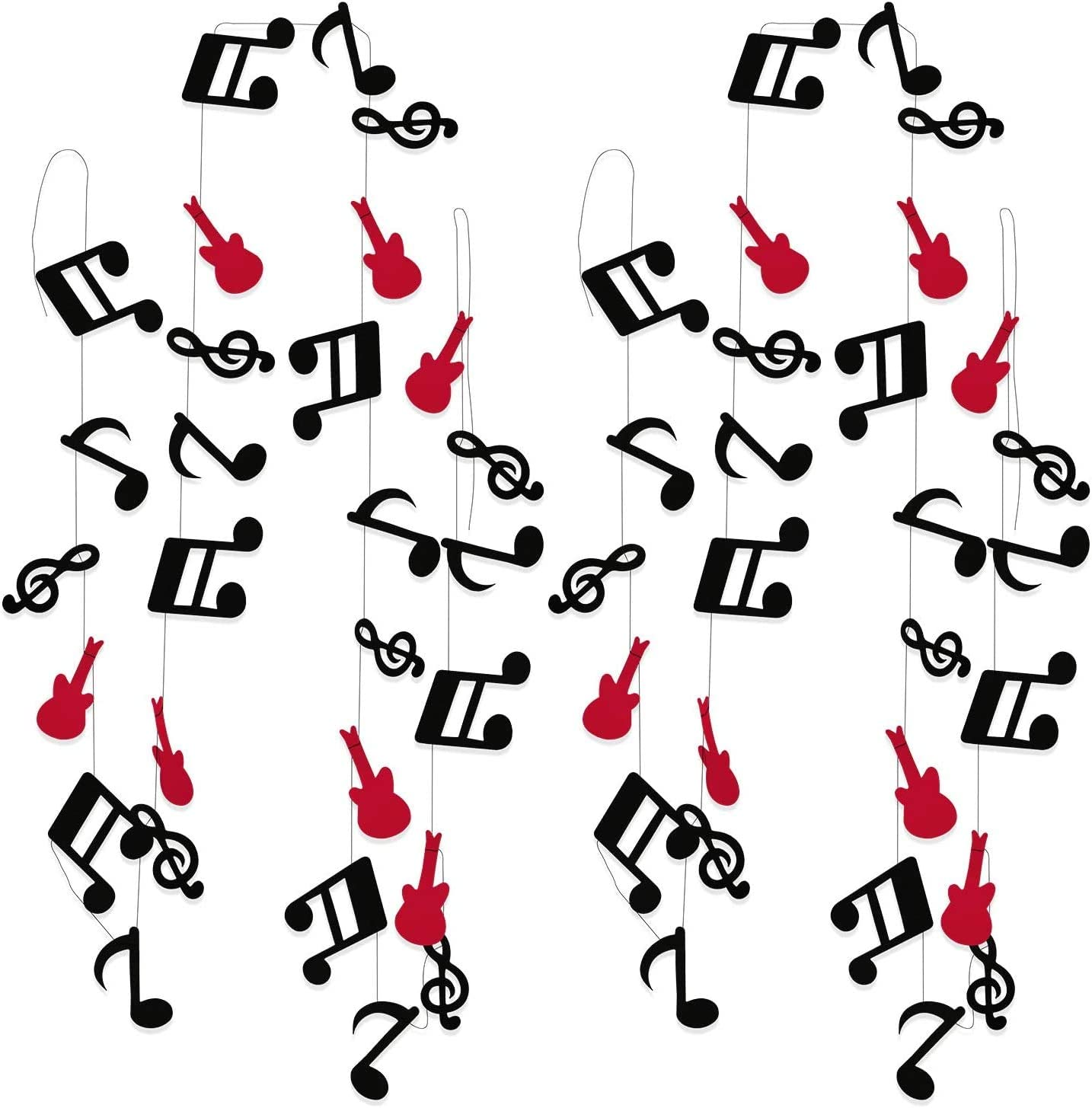 Furuix 2pcs Music Note Garland G Clef Garland, Red Black Music Party Banner, Music Theme Party Decorations, Music Birthday, Rock Star Birthday Rock and Roll Party, Music Theme Party