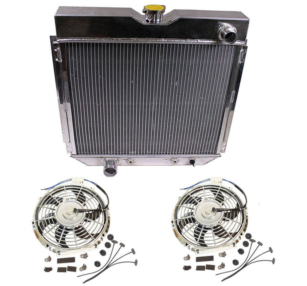 2 Pcs 12V Slim Electric Cooling Fan With Mounting Kit & A Full Aluminum Radiator by DEMOTOR