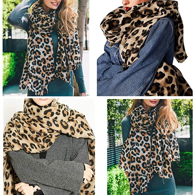 31a4722ca70cf Women's Leopard Print Scarf Warm Cashmere Cheetah Shawls Pashmina Wrap with  Tassel for Ladies at Amazon Women's Clothing store: