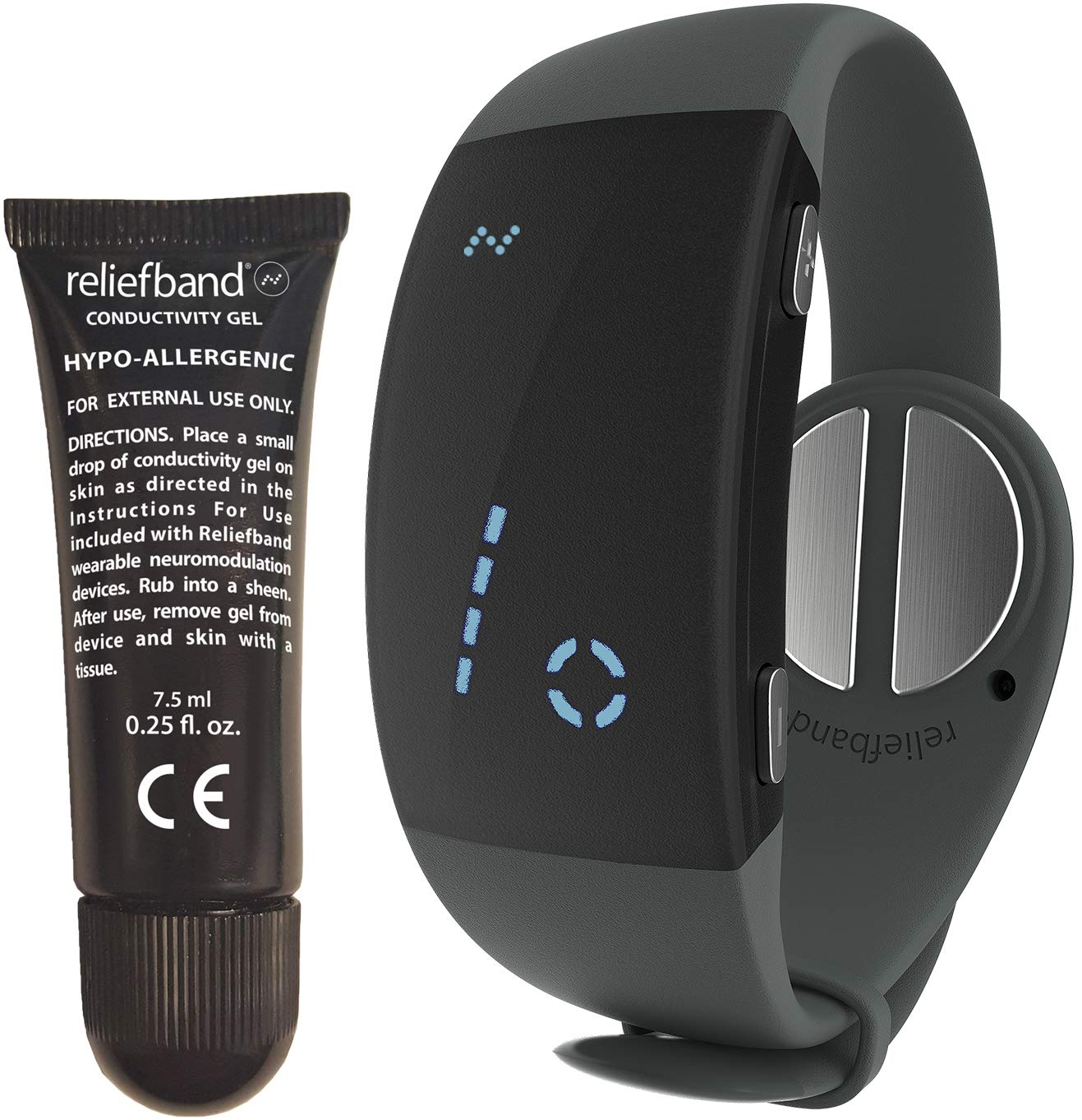 Reliefband 2.0 Motion Sickness Wristband - Updated w/New Features - Increased Battery Life - Easy-to-Use, Fast, Drug-Free Nausea Relief Band Helps w/Nausea & Vomiting (USB Charging Cable, Charcoal) by Reliefband
