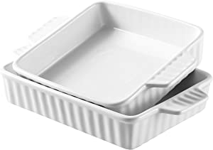Bruntmor Set Of 2 Rectangular Bakeware Set Ceramic Baking Pan Lasagna Pans for Baking, large 12.4 x 7.4 small 10.4 x 8, White