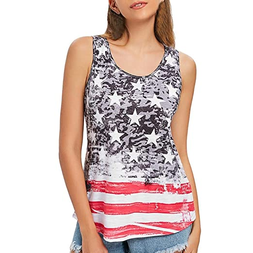 7ab70be5c8c Todaies Womens Vest American Flag Print Plus Size Tops Bowknot Patriotic  Tank Tops (