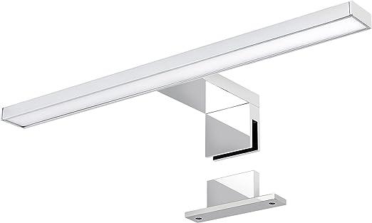 LED Spiegelleuchte 30cm 6W neutralwei/ß 230V aus Aluminium verchromt IP44 f/ür Bad Spiegellampe Spiegelschrank-Lampe Schrankleuchte Badezimmer Schminklicht