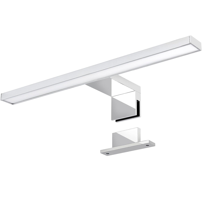 LED Spiegelleuchte 2-in-1 Aufbauleuchte/Klemmleuchte 50cm 6,5W in chrom, IP44, neutralweiß 4000K - für Möbel, Spiegel und Bad [Energieklasse A] SSC-LUXon
