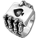 Jewelrywe Anillos Joyería hombres del anillo de la garra del cráneo, gótico Playing Cards, Poker, acero inoxidable, Negro Plata (con bolsa de regalo)
