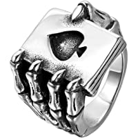 JewelryWe Mens Stainless Steel Ring, Gothic Skull Hand Claw Poker Playing Card, Black Silver, for Halloween (with Gift…