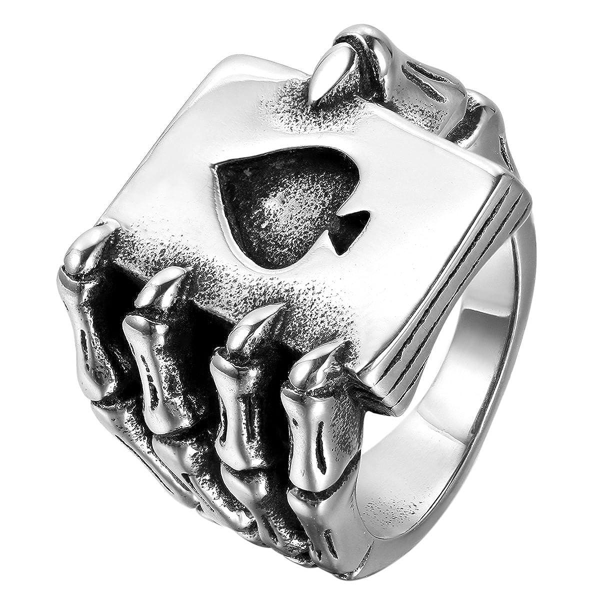 JewelryWe Bijoux Bague Homme Gothique Griffe Tête de mort Carte De Poker Bêche A Acier Inoxydable Anneaux Fantaisie Couleur Noir Argent JWEU00443