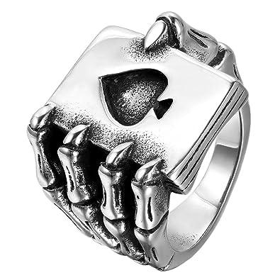 ed7f48e839cf Jewelrywe Anillos Joyería hombres del anillo de la garra del cráneo ...