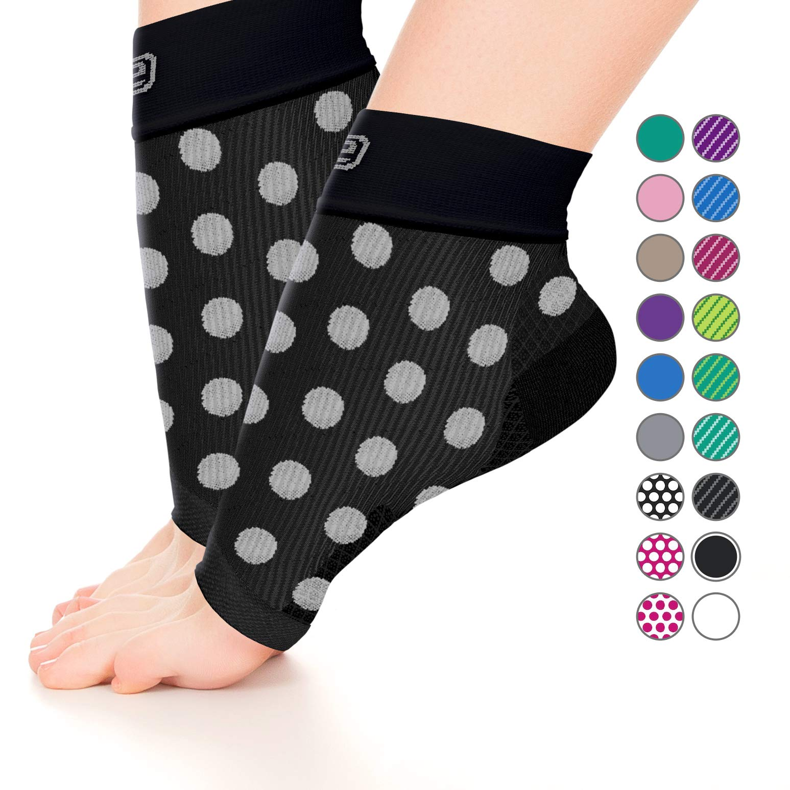 Plantar Fasciitis Sock,Compression Socks for Men Women-Best Ankle Sleeve for Arch Support,Injury Recovery and Prevention-Relief from Joint and Foot Pain,Swelling,Achy Feet (Black W/Large White Dots,M)