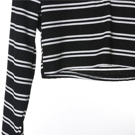 8cb9a42412f Pie Women's Sexy Turtleneck Zipper Crop Top Striped Long Sleeve Casual T  Shirt Blouse at Amazon Women's Clothing store: