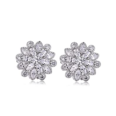 J.Vénus 925 Sterling Silver 16mm Snowflake Earrings, with a beautiful branded gift box