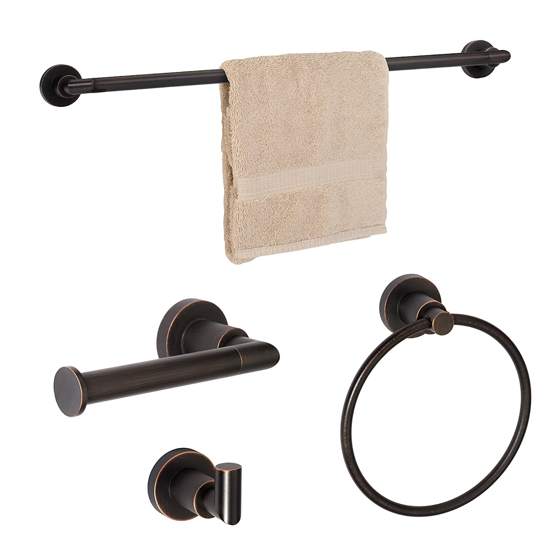 Dynasty Hardware 4000-ORB-3PC Manhattan Towel Bar Set, Oil Rubbed Bronze, With 24 Towel Bar (3 - Piece Set) … DYN-4000-ORB-3PC