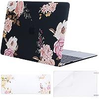 MOSISO Funda Dura Compatible MacBook Retina 12 Pulgadas A1534 (2015/2016/2017),Ultra Delgado Carcasa Rígida de Plástico & Cubierta de Teclado (USA Versión) & Protector de Pantalla,Peonía en Base Negra