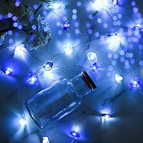 Ocean Themed String Lights sea Glass Decorative Lights 10 FT Mini LED Fairy Lights for Bedroom Teal Christmas Lights Hanging Lights for Indoor and Outdoor use,Battery Operated with Timer